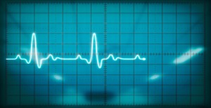 Oscilloscope screen showing heartbeat - landscape interior